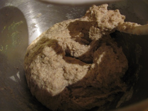 Not a great picture, but you can kind of see how the dough comes away from the bowl, but sticks a bit to the dough hook